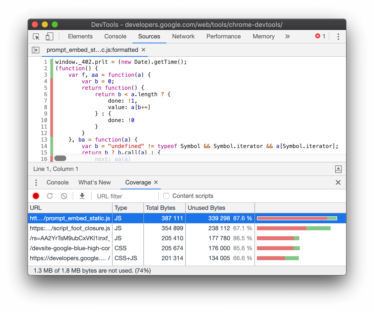 Analyzing code coverage.
