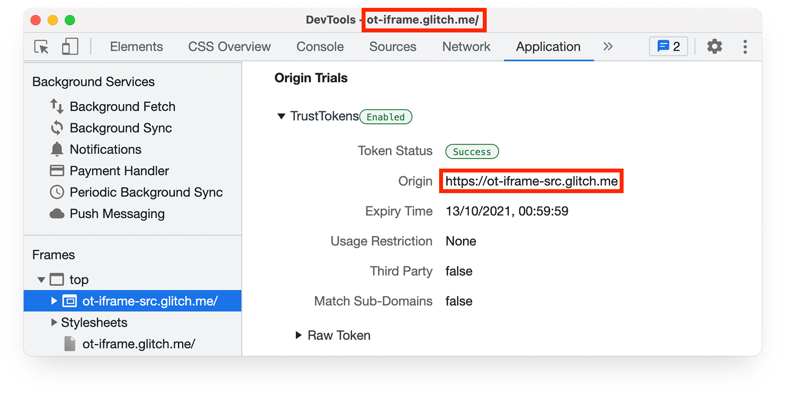 Chrome DevTools    Application panel, showing origin trial tokens for page in iframe