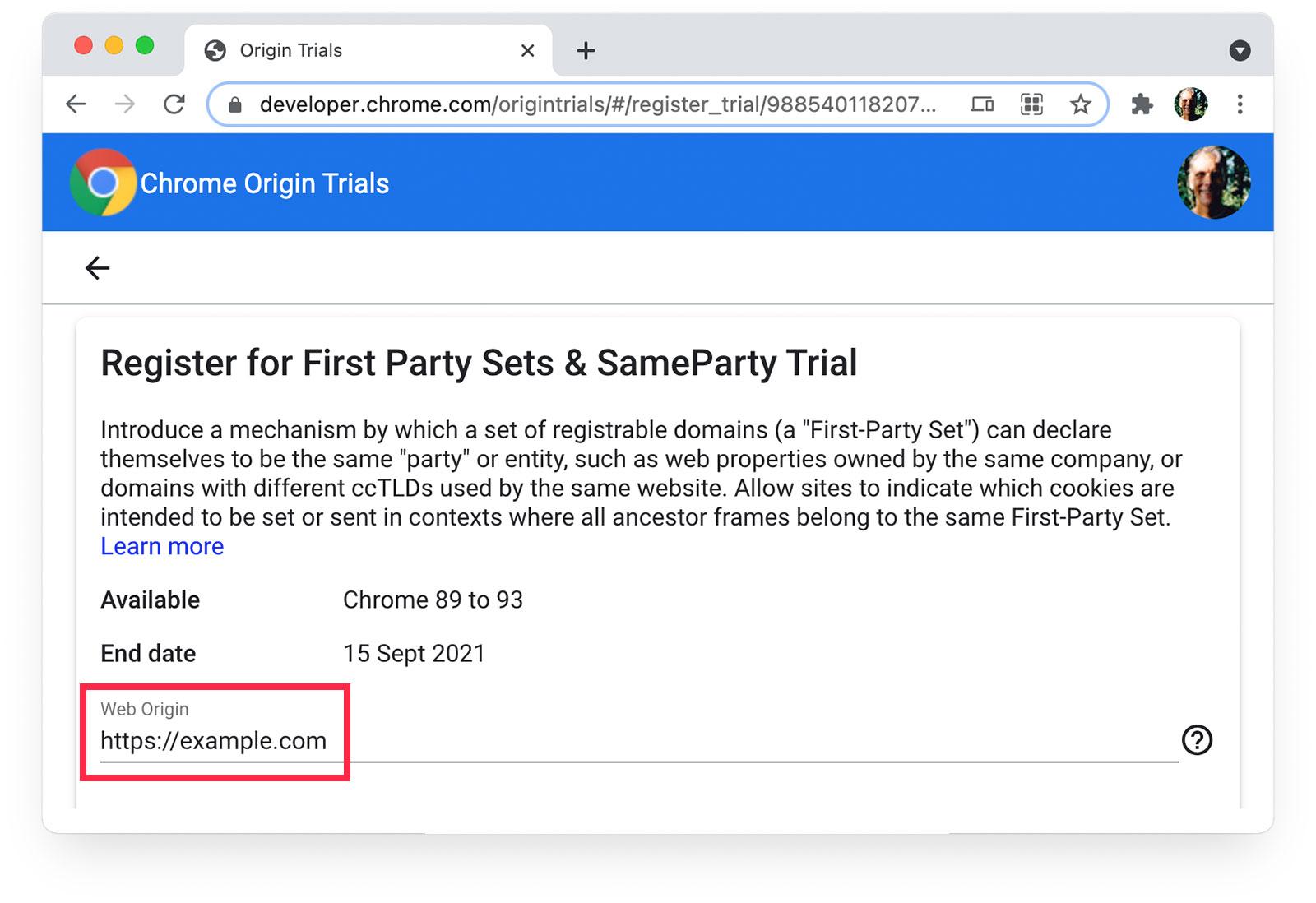 Chrome Origin Trials  page showing https://example.com selected as Web Origin