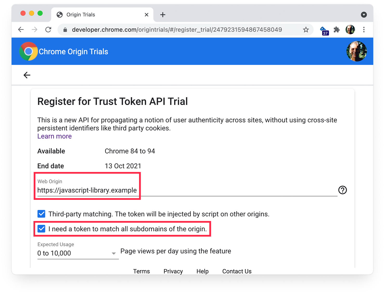 Chrome origin trials  registration page showing third-party matching and subdomain-matching selected