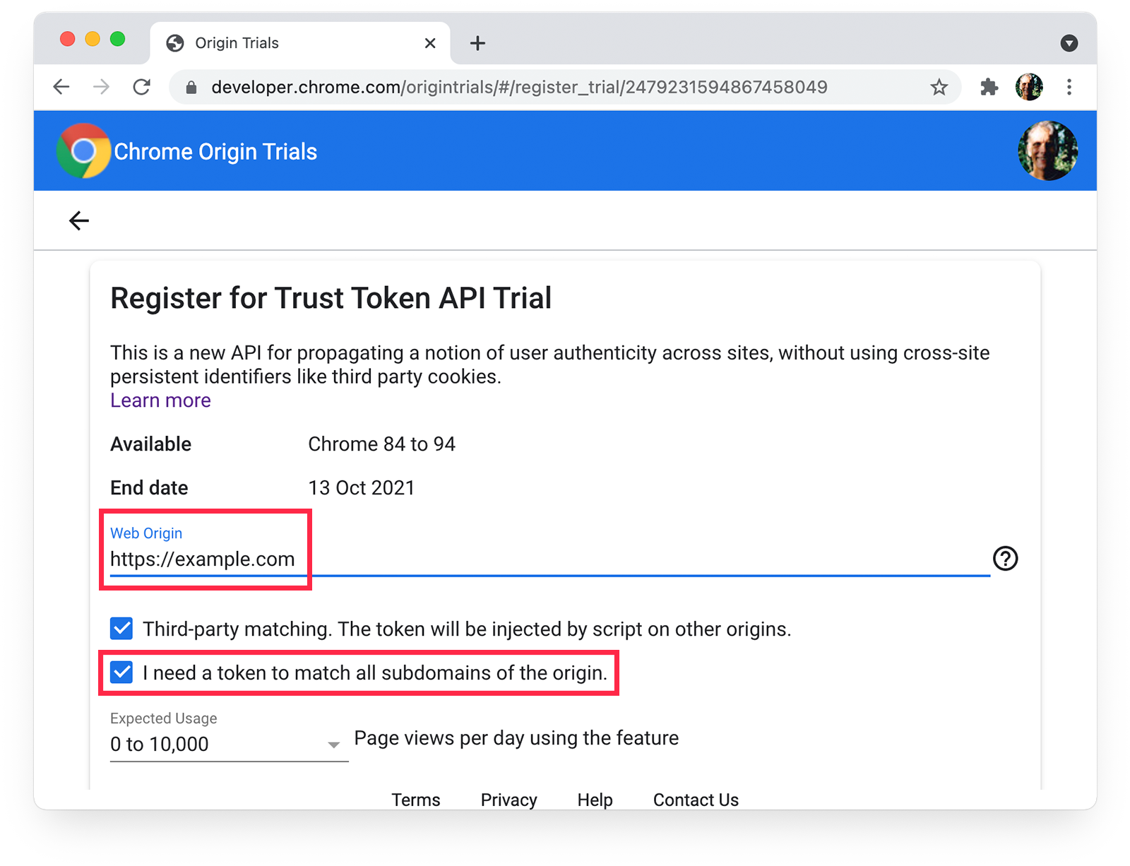 Chrome origin trials  registration page showing subdomain-matching selected