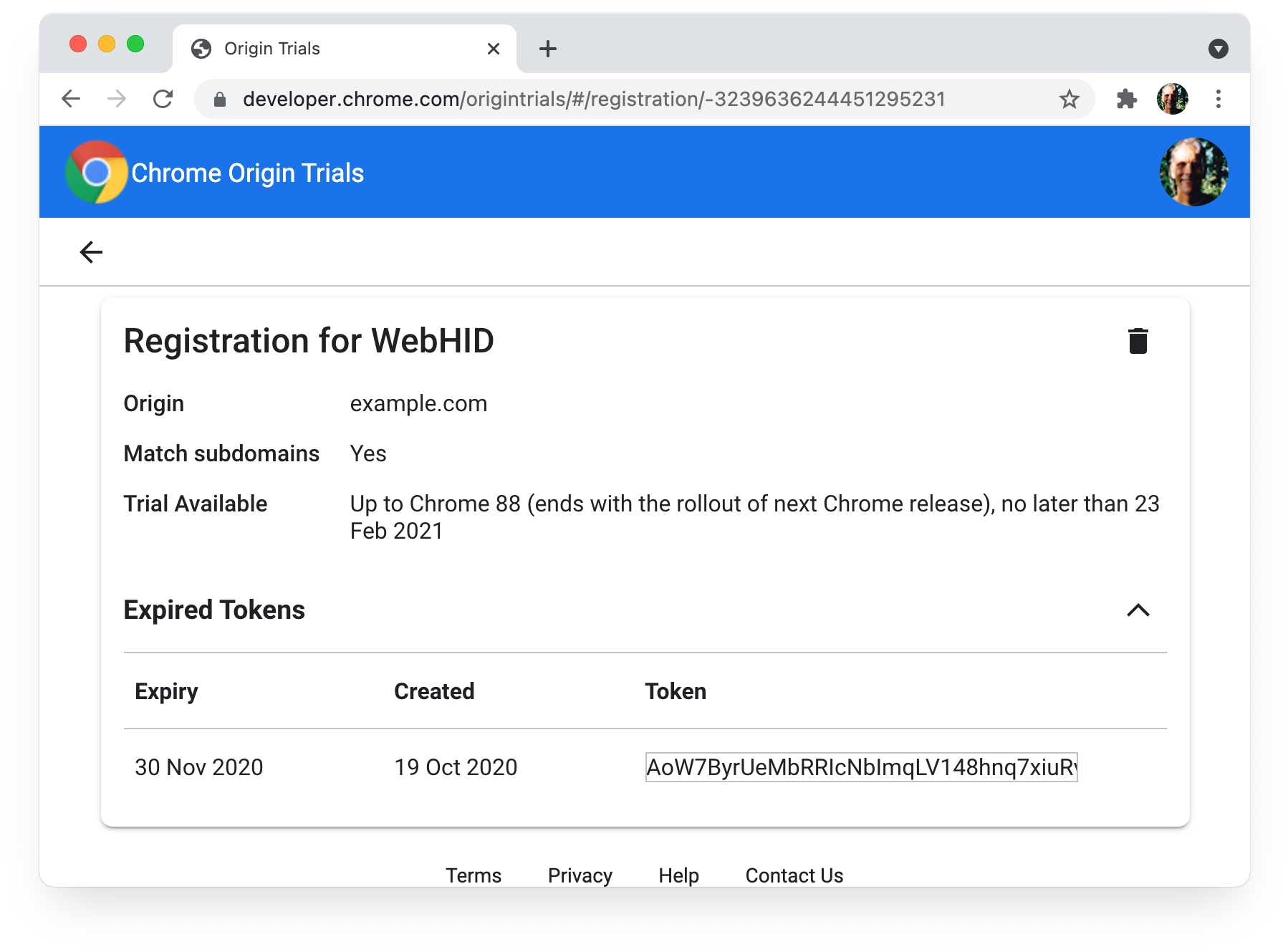 Chrome origin trials  My Registrations page showing expired tokens