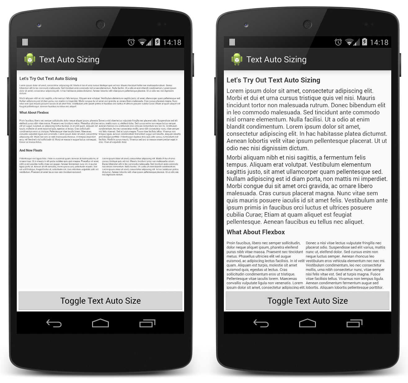 An example of how a page looks before and after text autosizing.