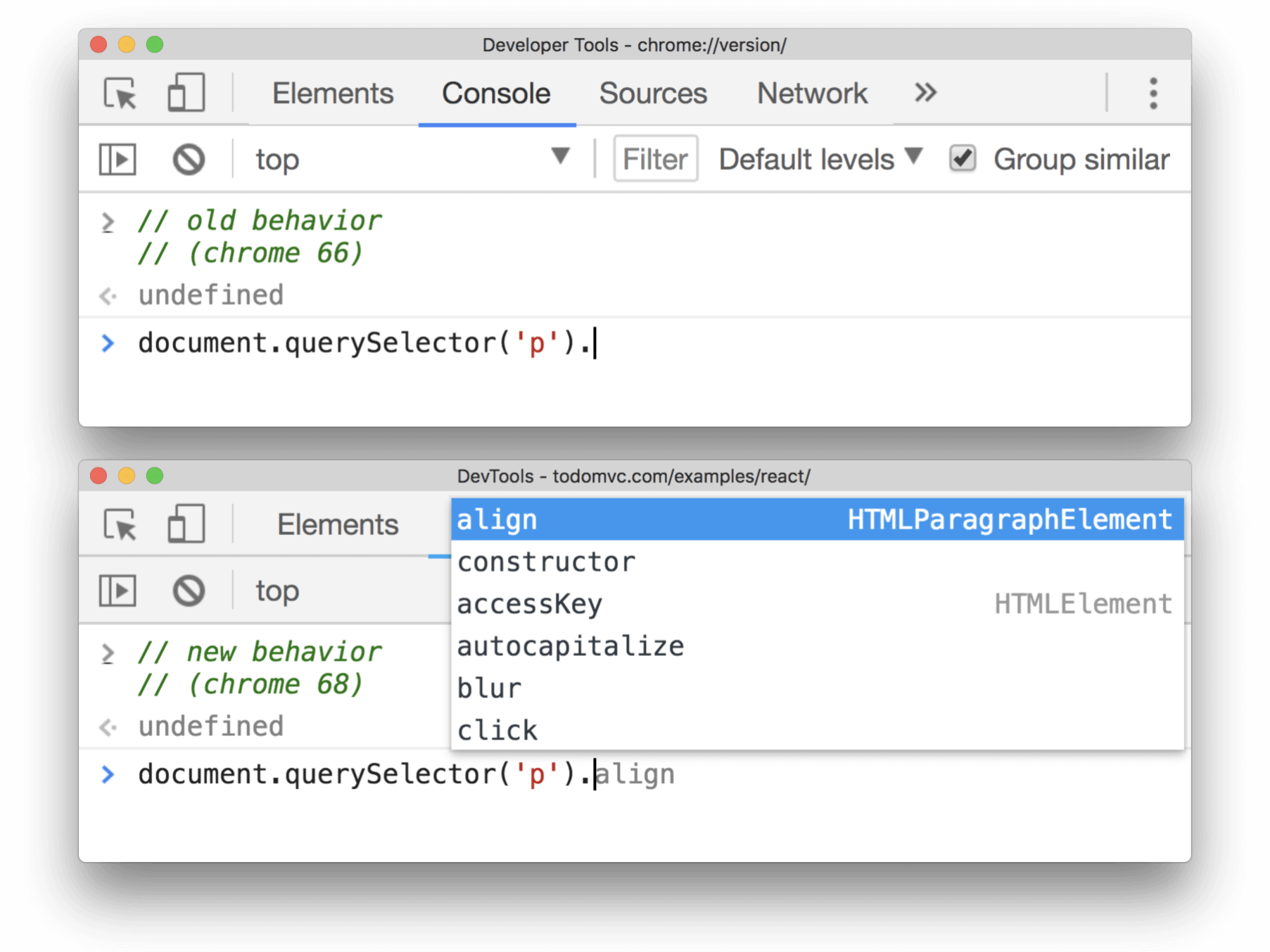 After running document.querySelector('p'), the Console can now show you the available properties and functions for that element.