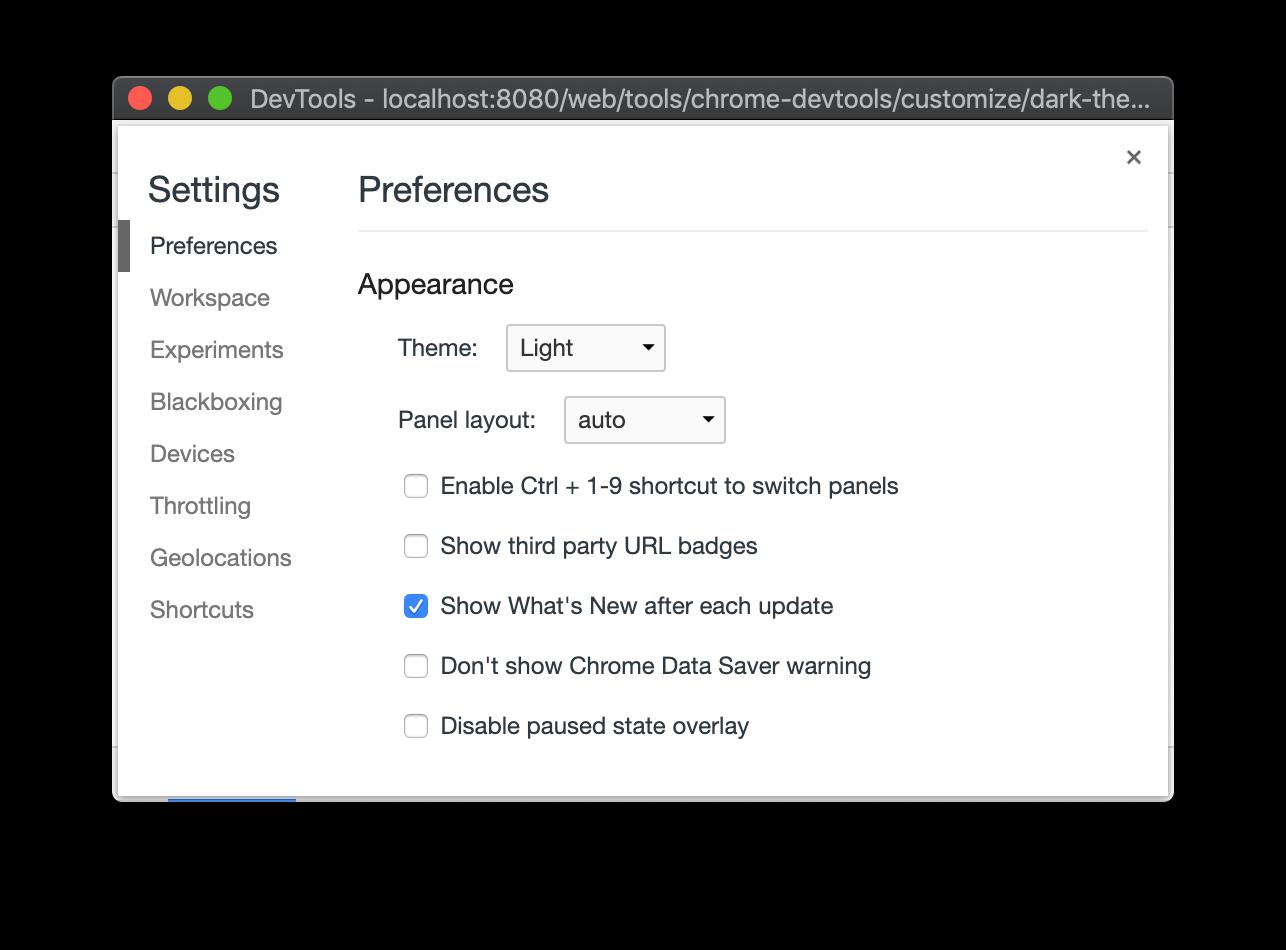 Settings > Preferences