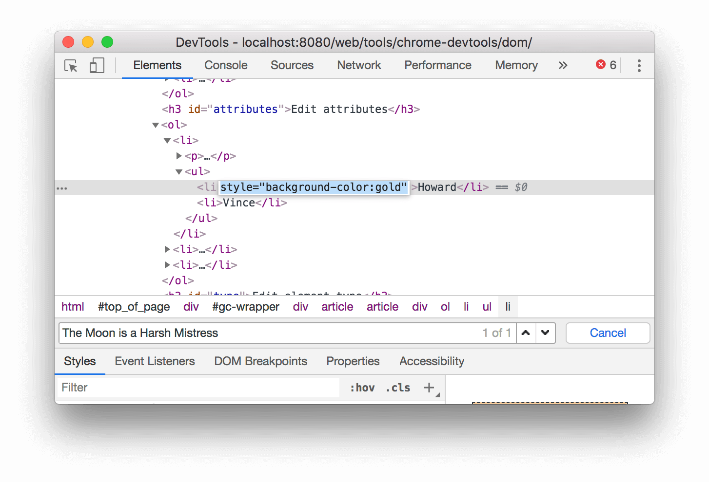 Adding a style attribute to the node