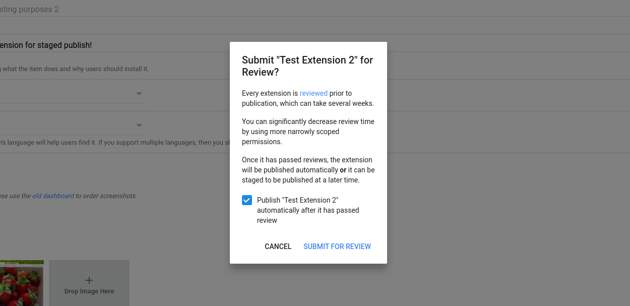 Screenshot of the Chrome Web Store confirm submission dialog