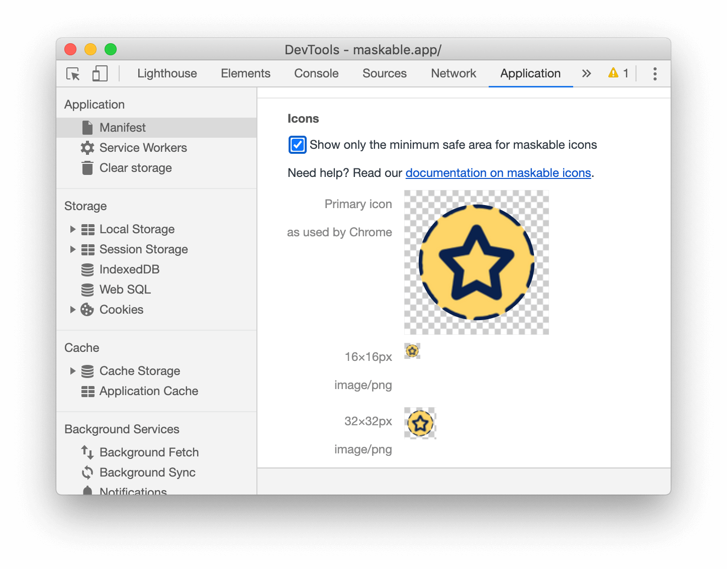 The 'Show only the minimum safe area for maskable icons' checkbox