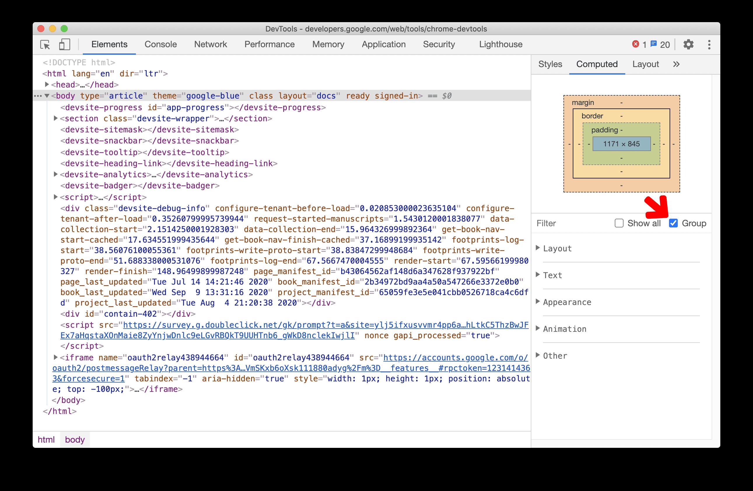Grouping CSS properties