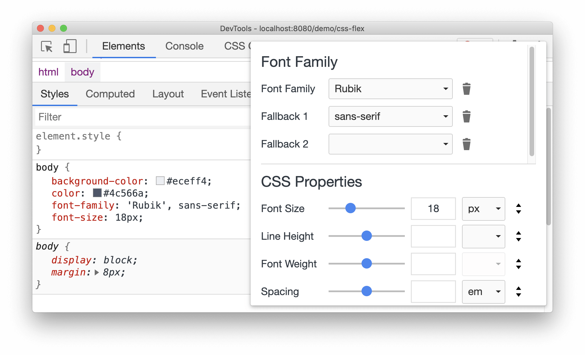 Font editor in the Styles pane