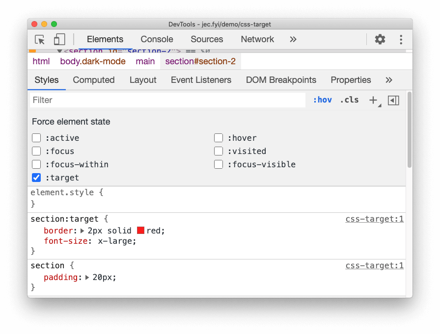 forcing the CSS `:target` state