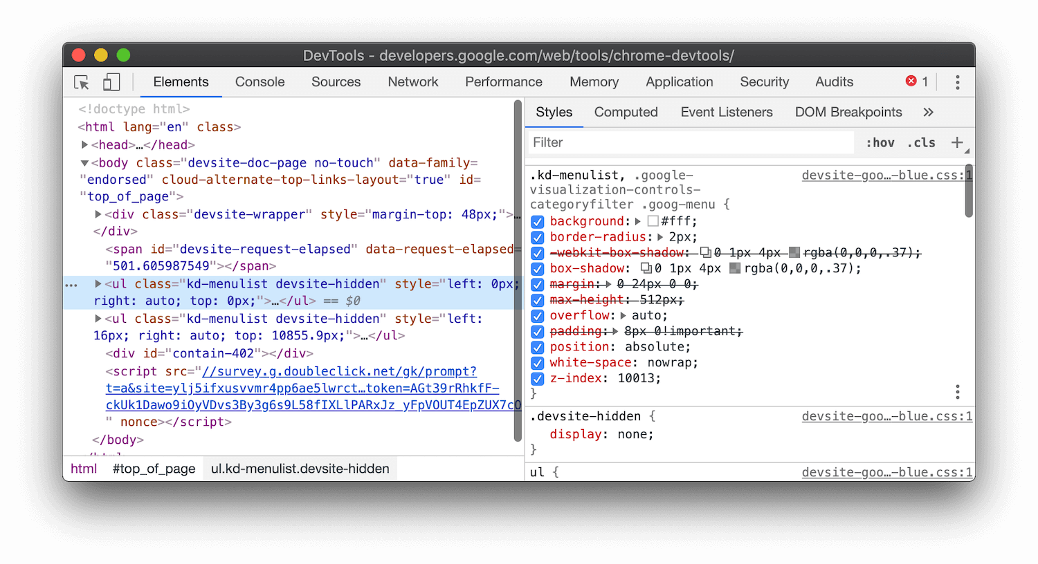 A 'max-height: 512px' declaration is crossed out in the Styles pane of Chrome DevTools.