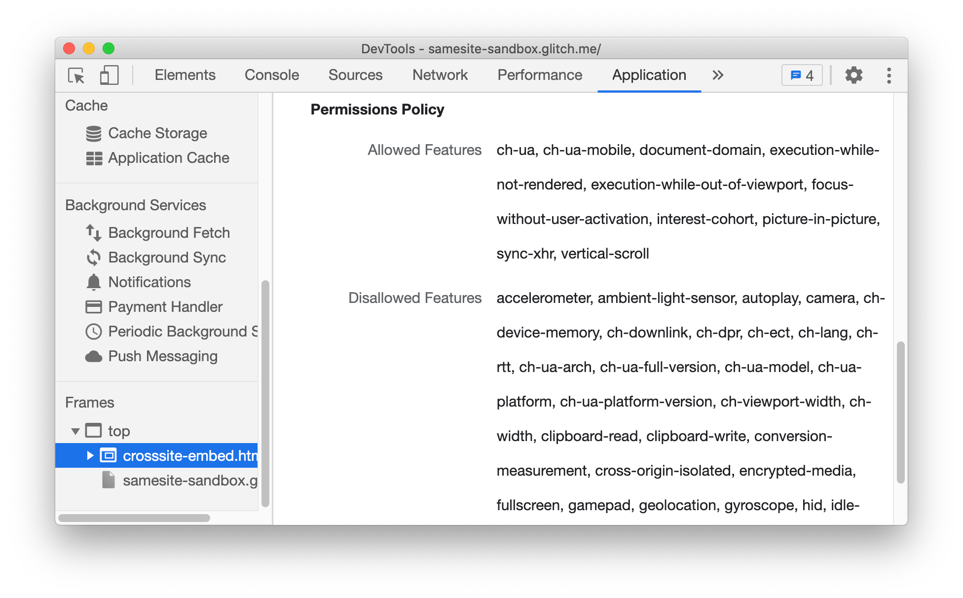 Allowed/disallowed features based on Permission policy