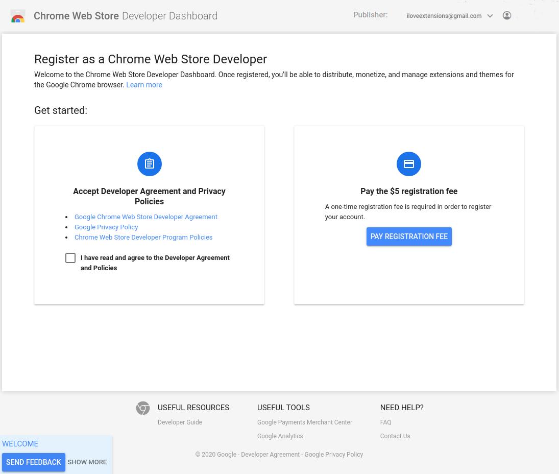 Screenshot of the Chrome Web Store developer registration page