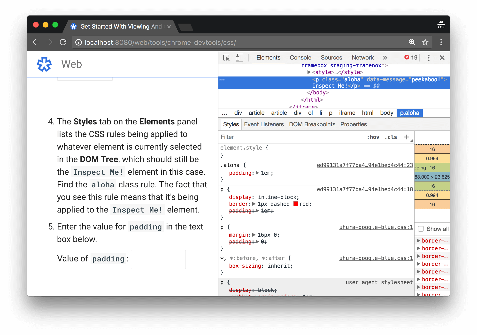 CSS classes being applied to the inspected element are highlighted in the Styles tab