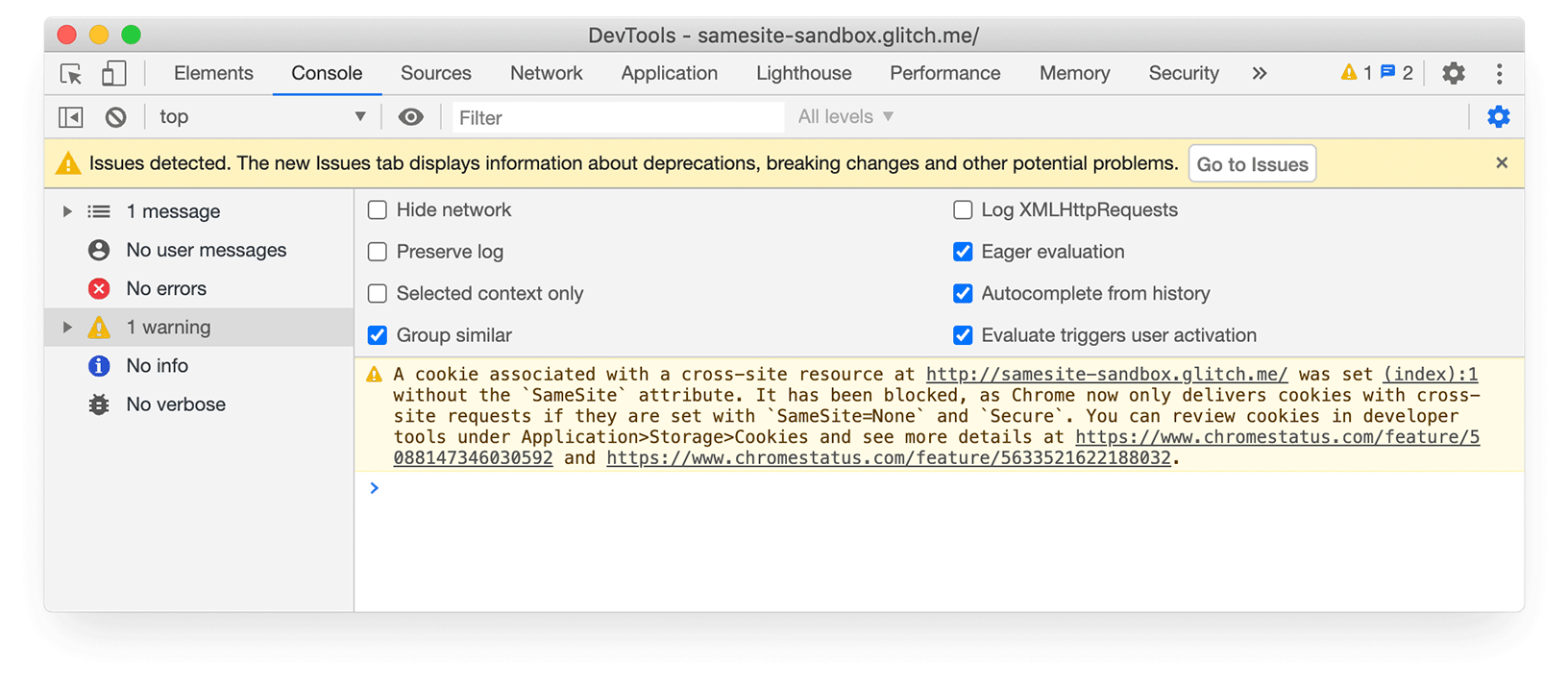 Chrome DevTools screenshot showing yellow warning bar for Issues detected.