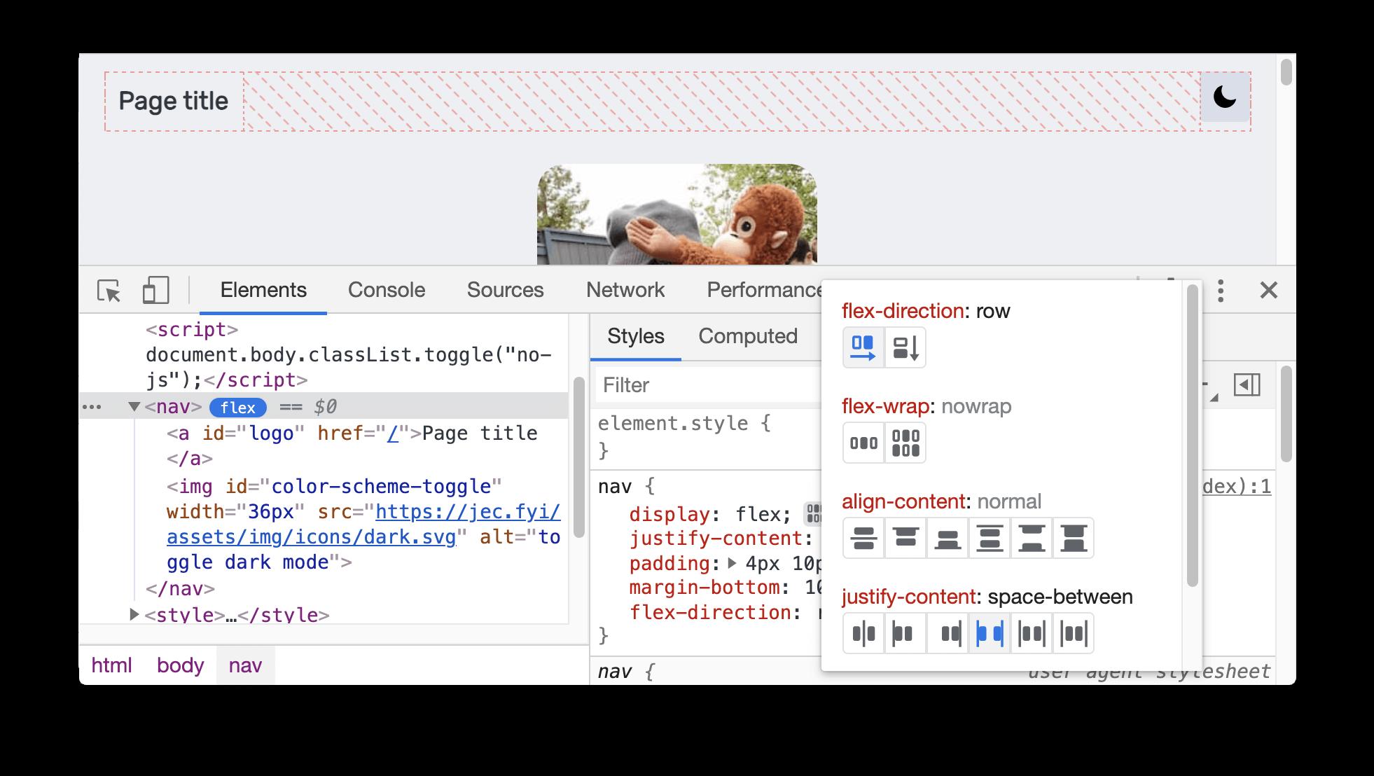 CSS flexbox debugging tools