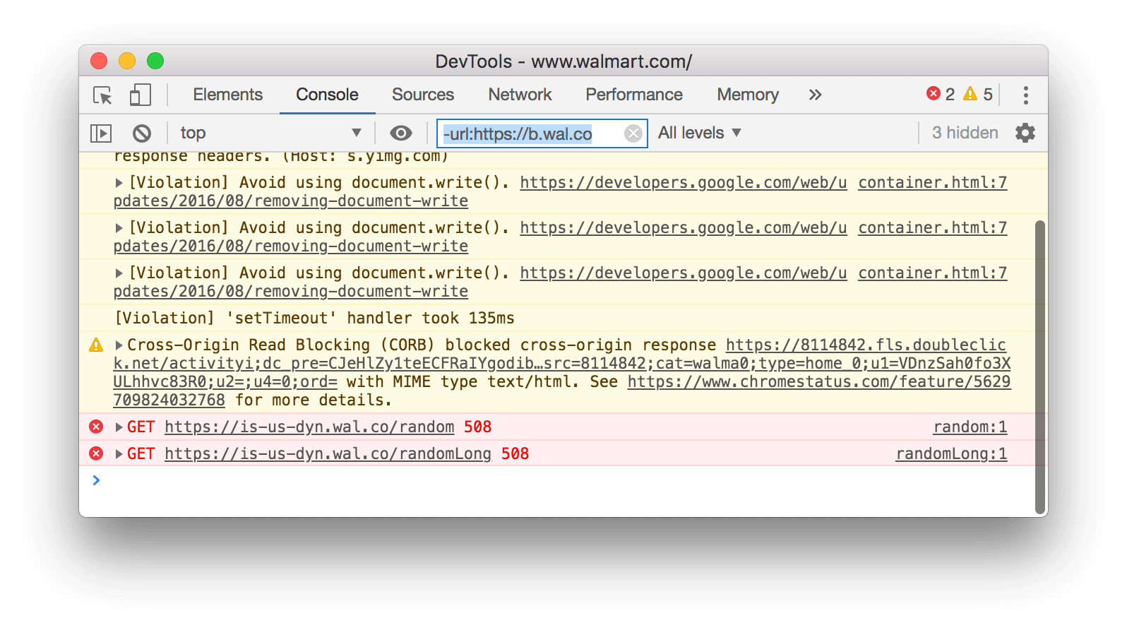 A negative URL filter. DevTools is hiding all messages that match the URL https://b.wal.co