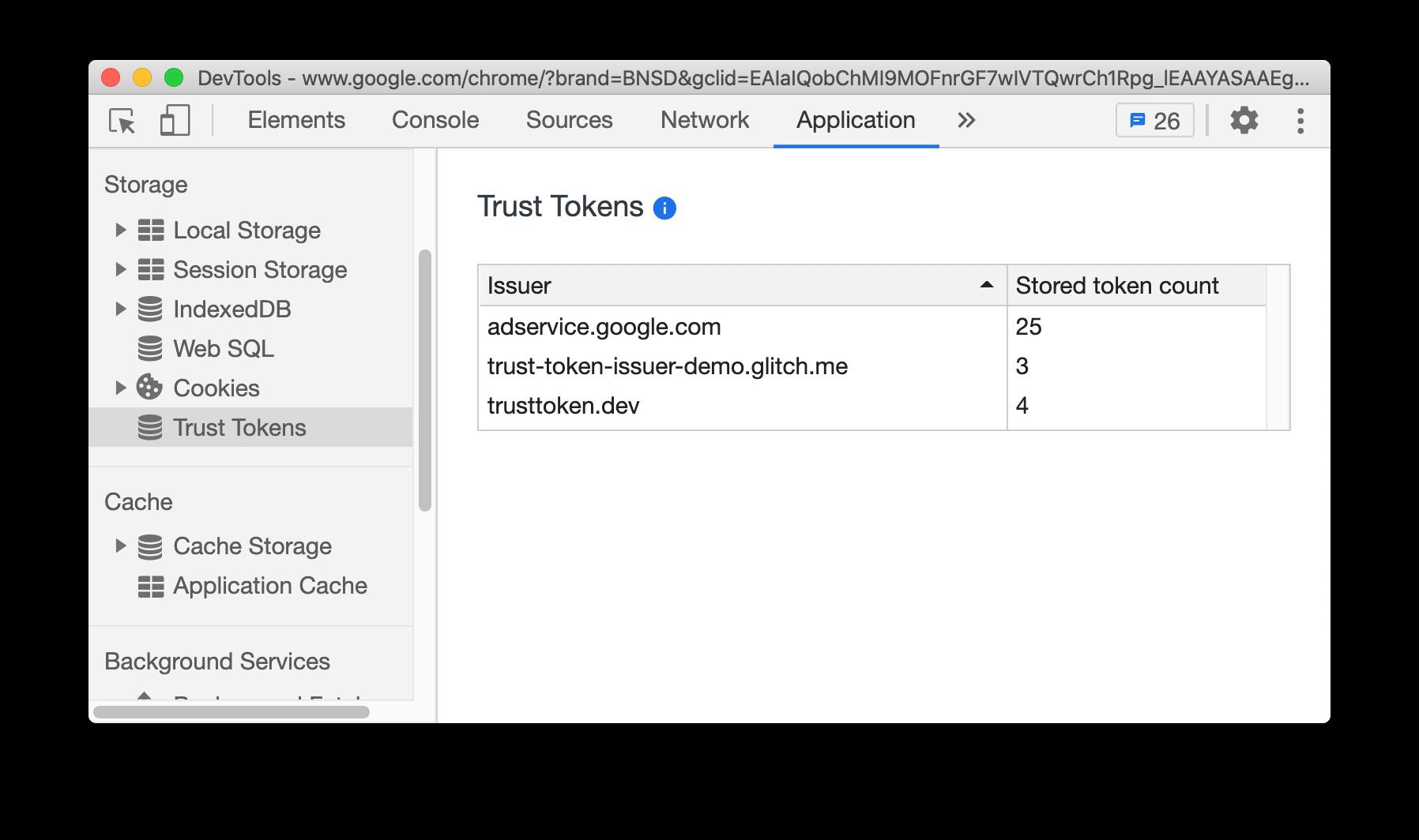 New Trust Tokens pane