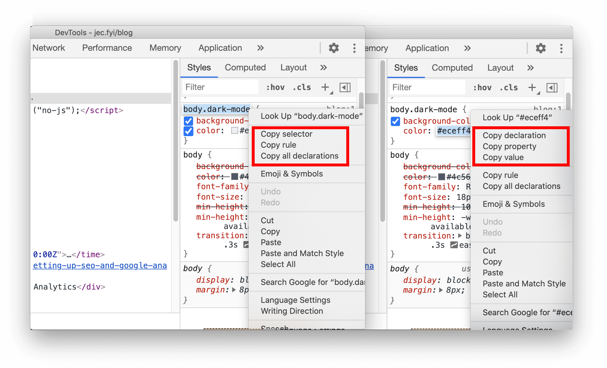 New shortcuts to copy CSS properties