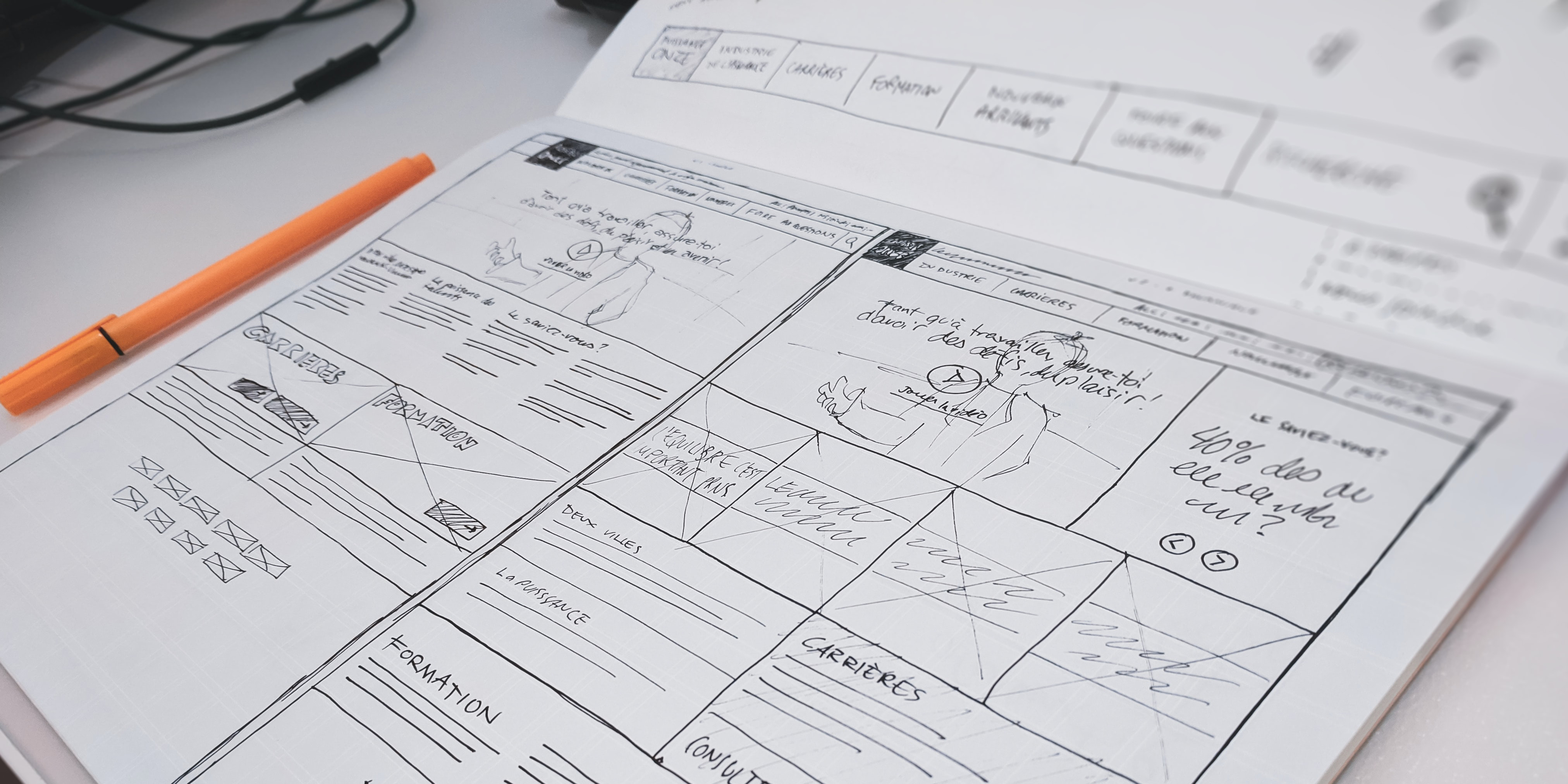 A layout plan for a web page.