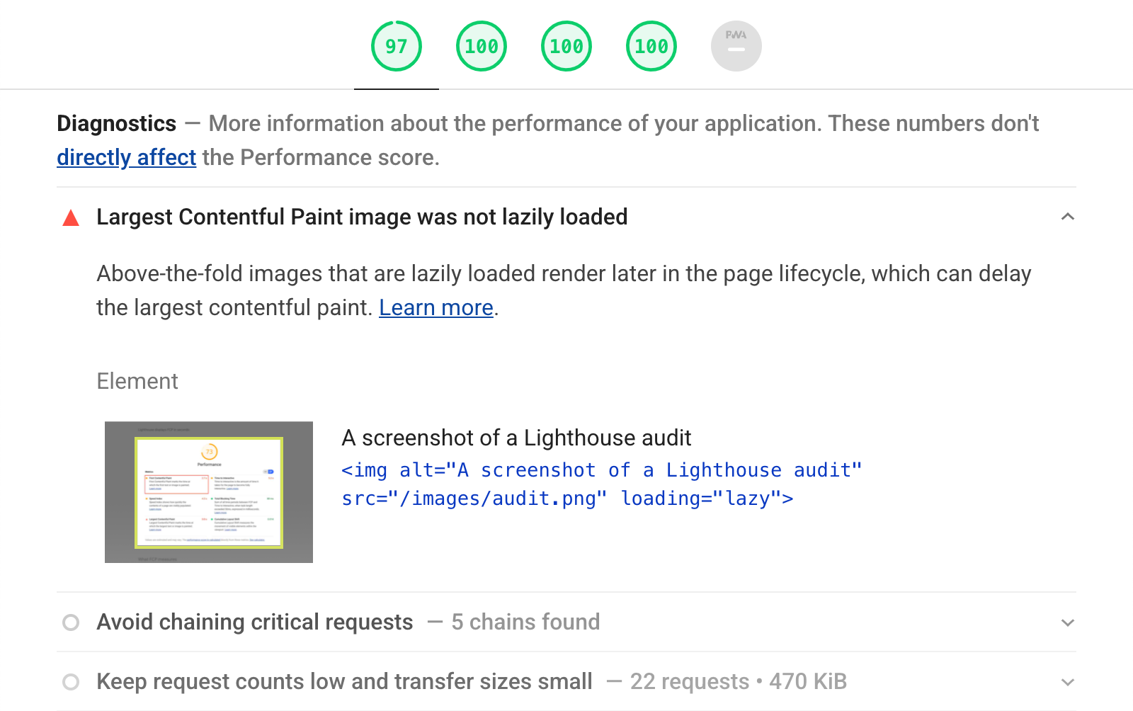 The lazy-loaded LCP audit in a Lighthouse report