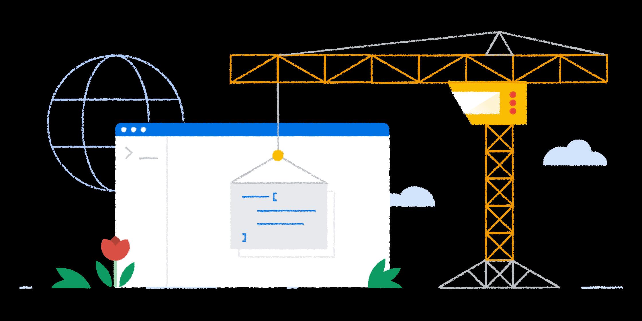 Construction crane lifting a resource into a Chrome tab