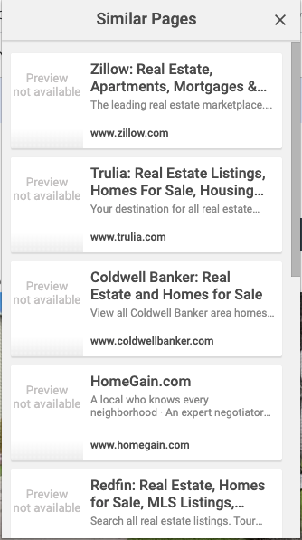 Screenshot of Google Similar Pages extension