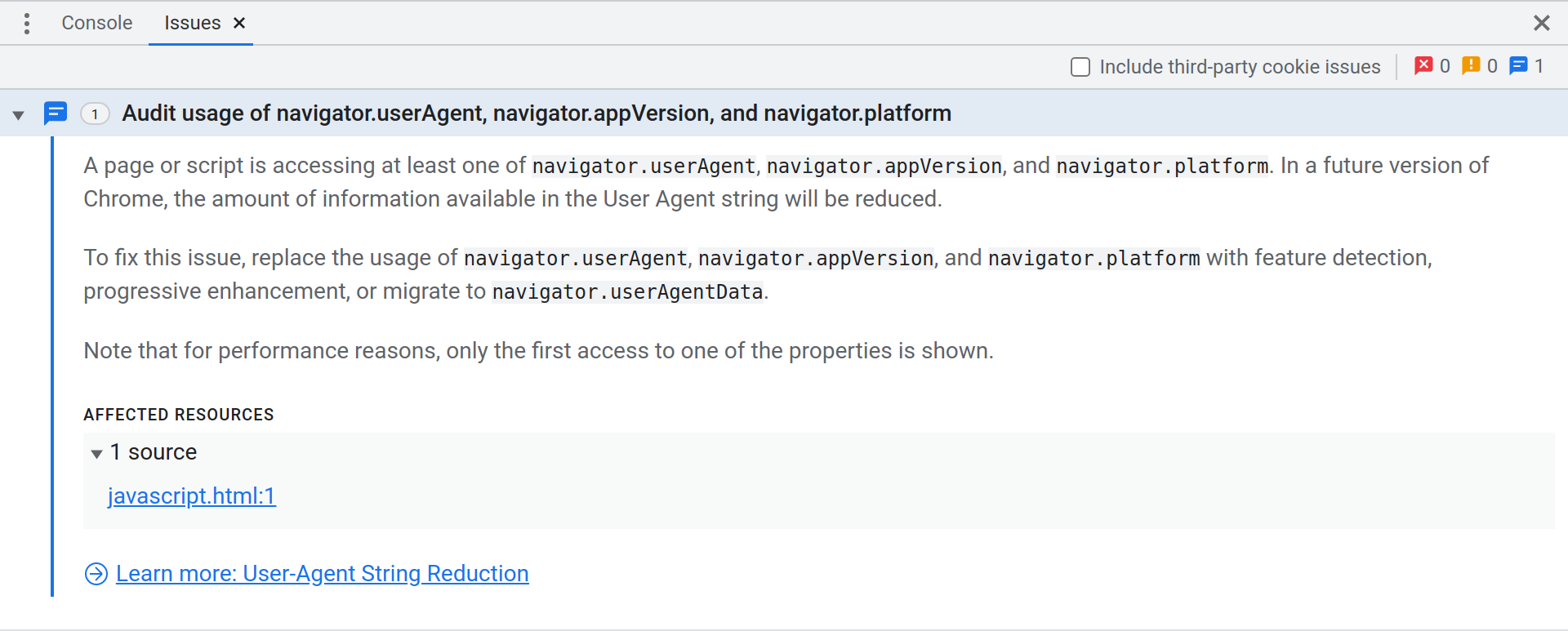 DevTools Issues panel showing an Improvement issue advising the developer to audit usage of navigator.userAgent, navigator.appVersion, and navigator.platform