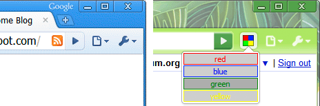 A page action (left) appears in the omnibox, indicating the extension can do something on this page. A browser action (right) is always visible.