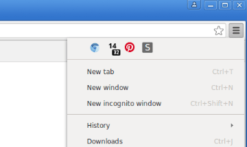 Hidden extension icons would appear in the Chrome menu.