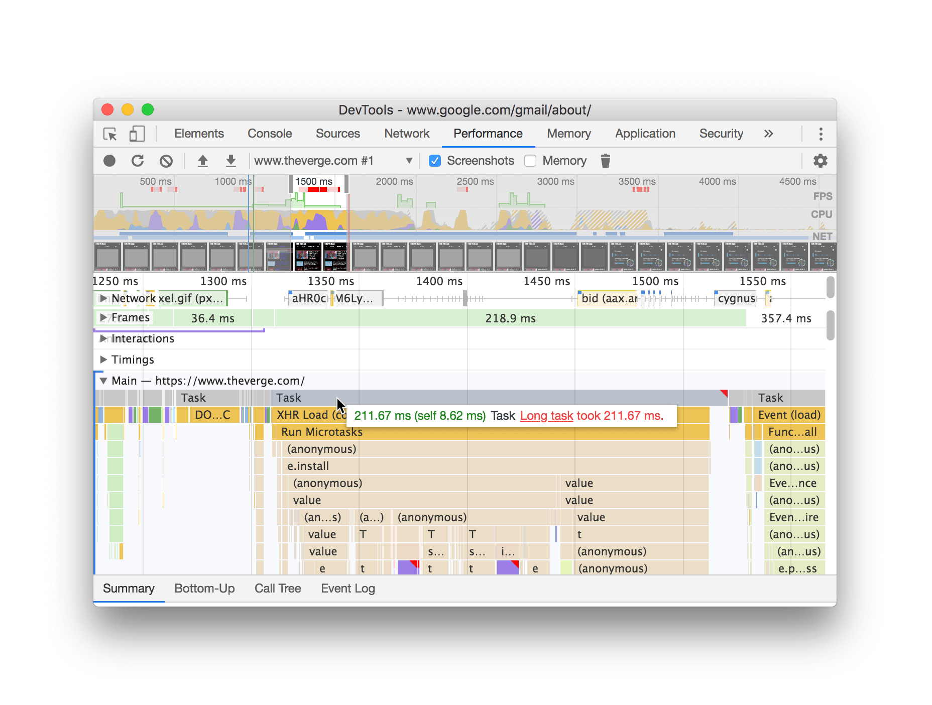 Hovering over a long task in a Performance recording