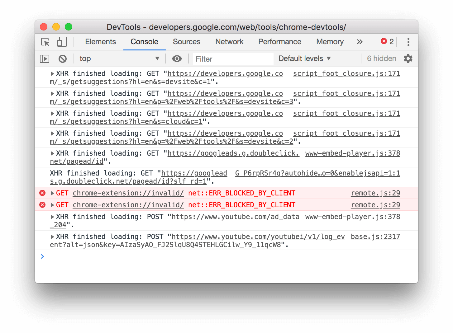 How the logged XMLHttpRequest and Fetch requests look after ungrouping.