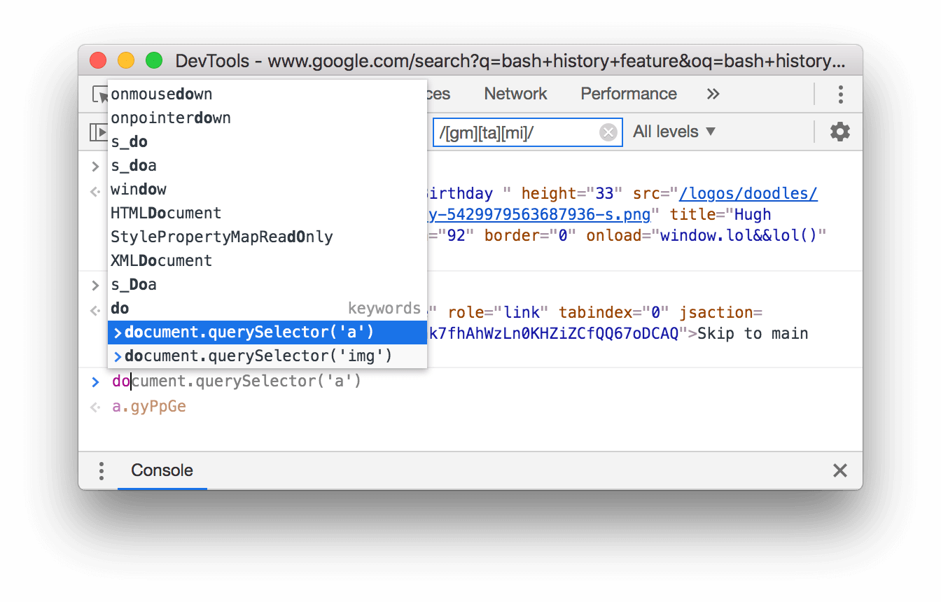 The autocomplete popup showing expressions from history.