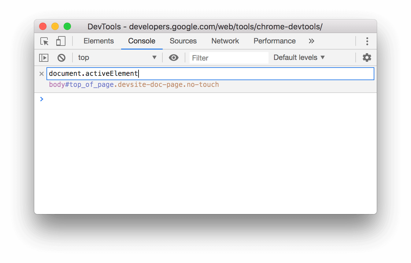 Typing document.activeElement into the Live Expression text box.