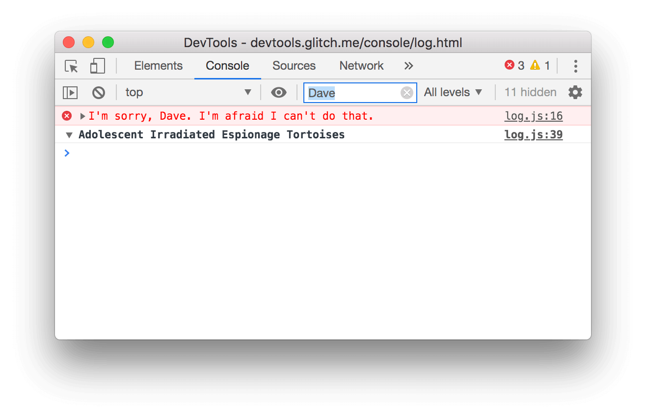 Filtering out any message that does not include `Dave`.