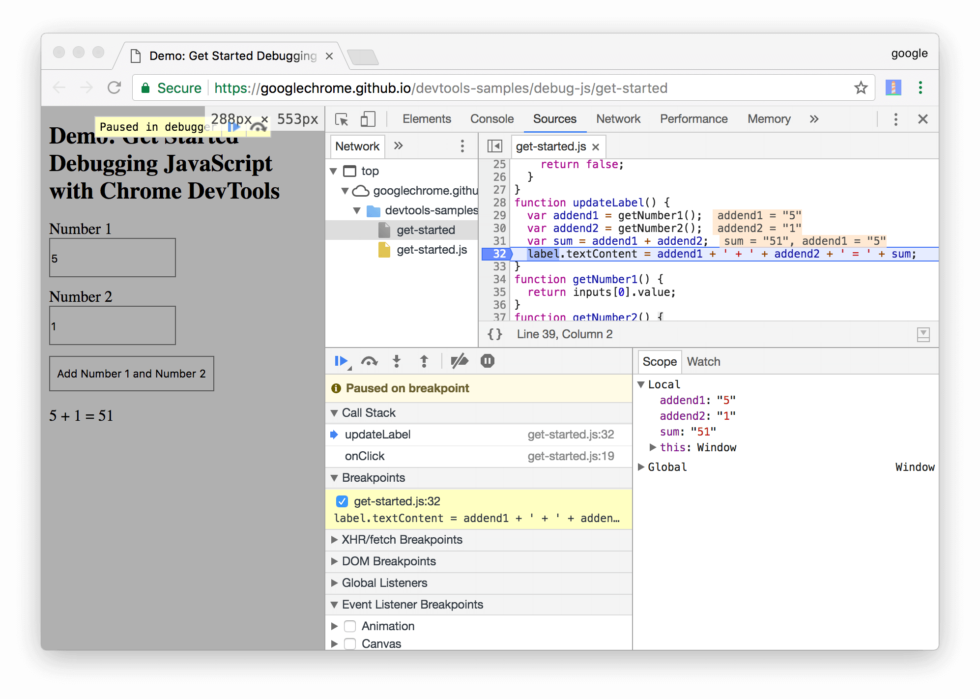 DevTools pauses on the line-of-code breakpoint on line 32.