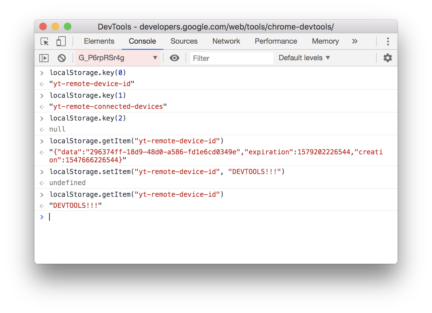 Interacting with localStorage from the Console