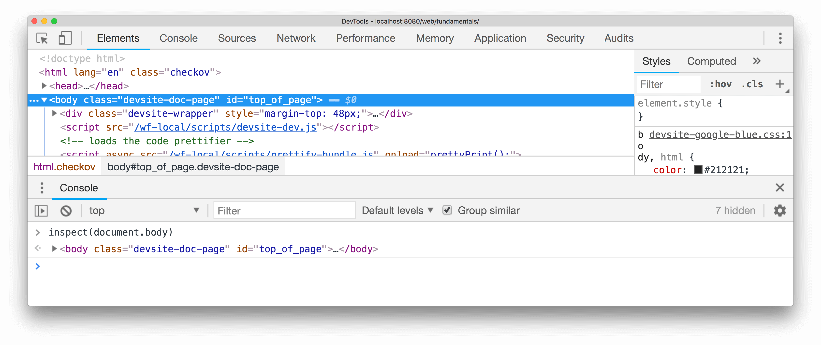 Inspecting an element with inspect()