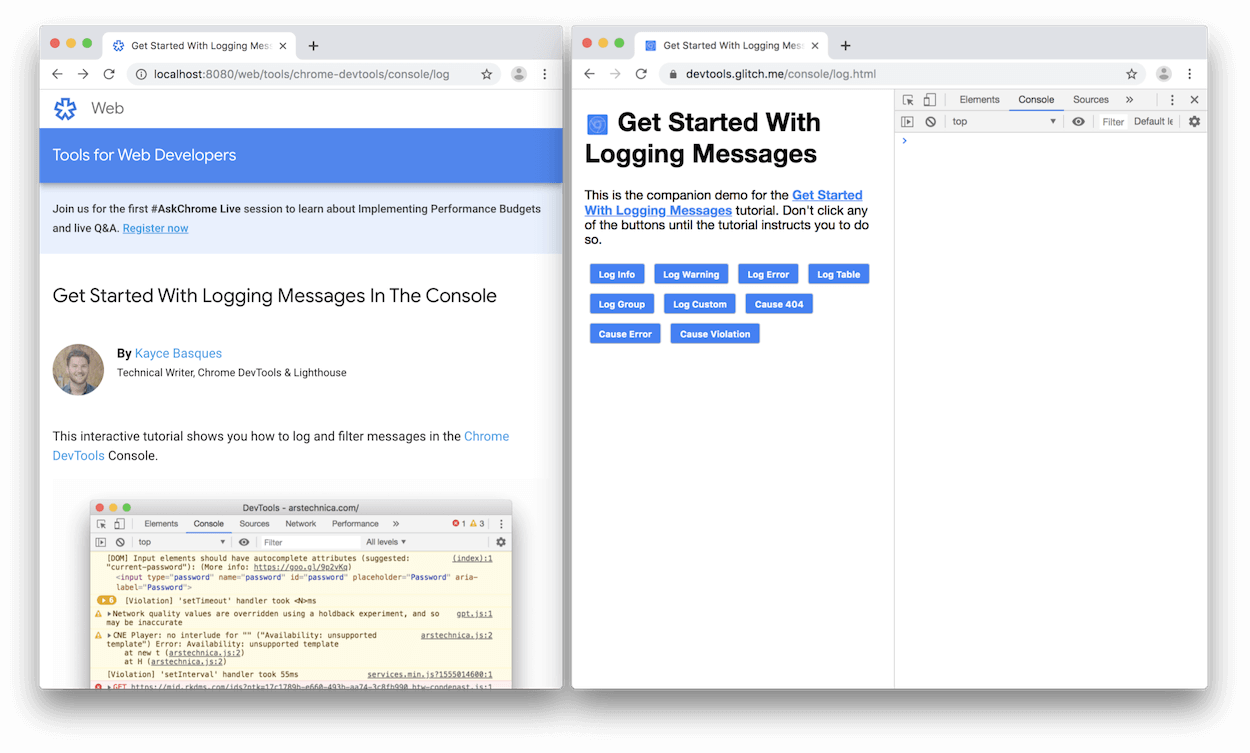 DevTools opens to the right of the demo.