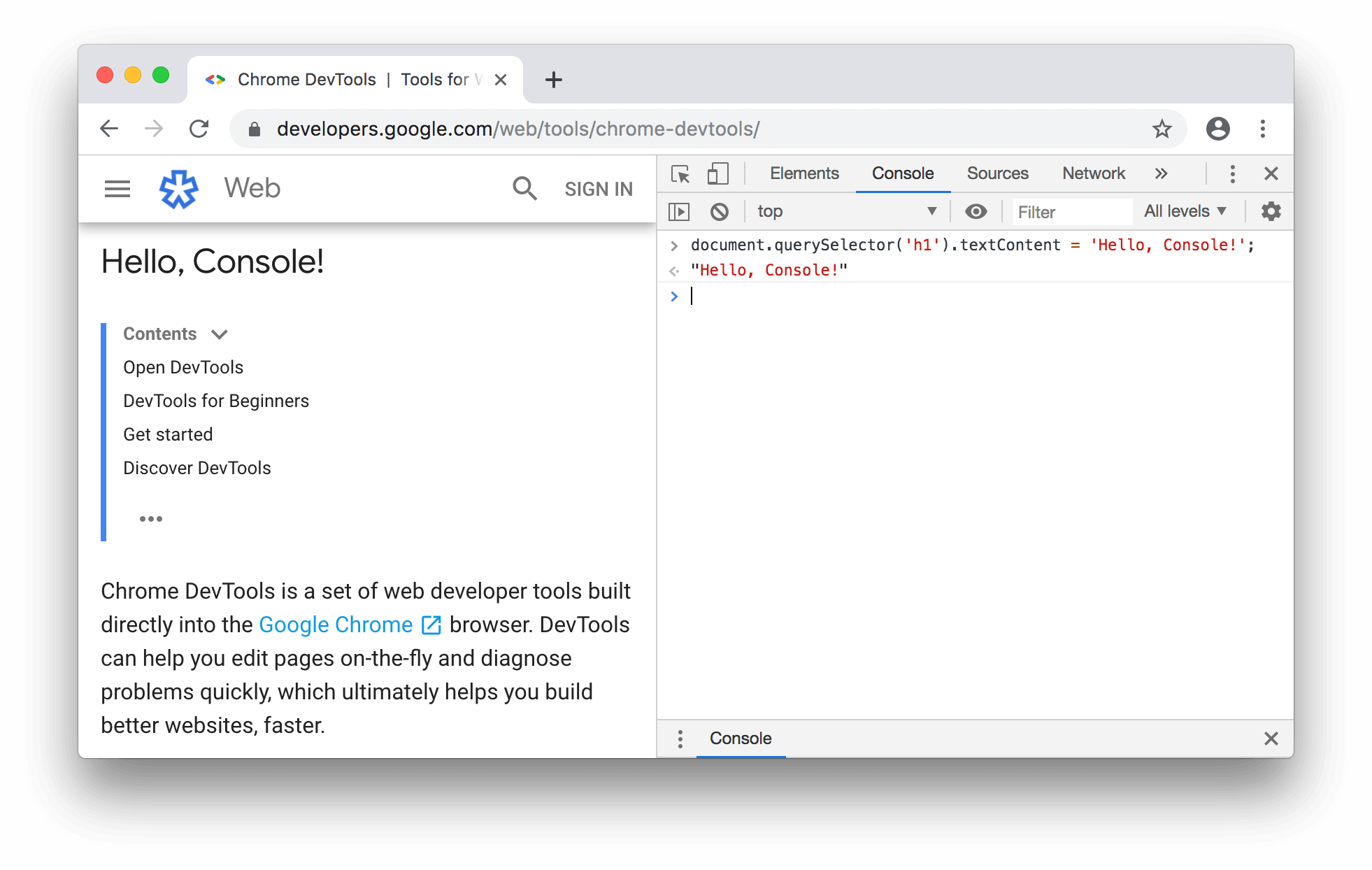 Using the Console to change the page's title.