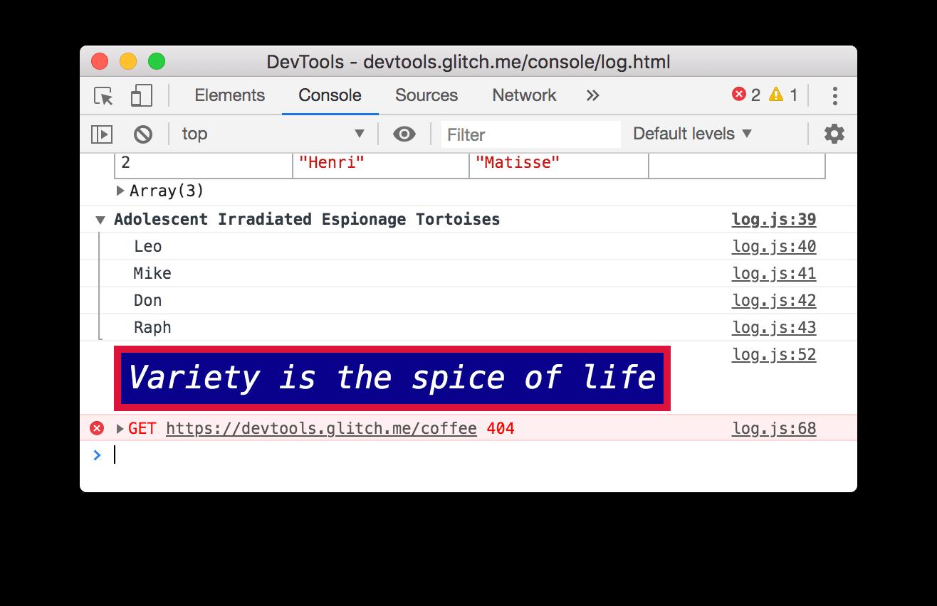 A 404 error in the Console.