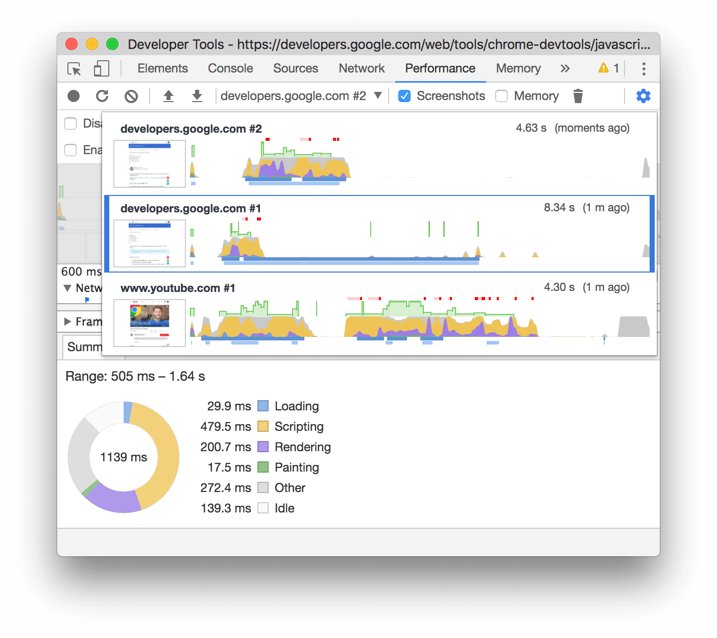 Selecting between multiple recordings in the Performance panel.