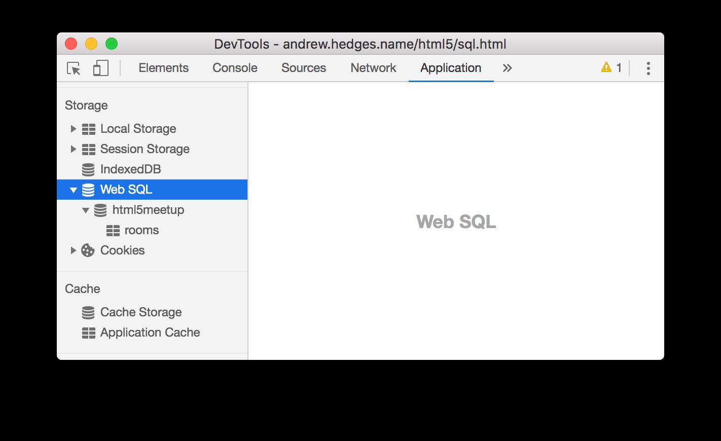 The Web SQL pane.