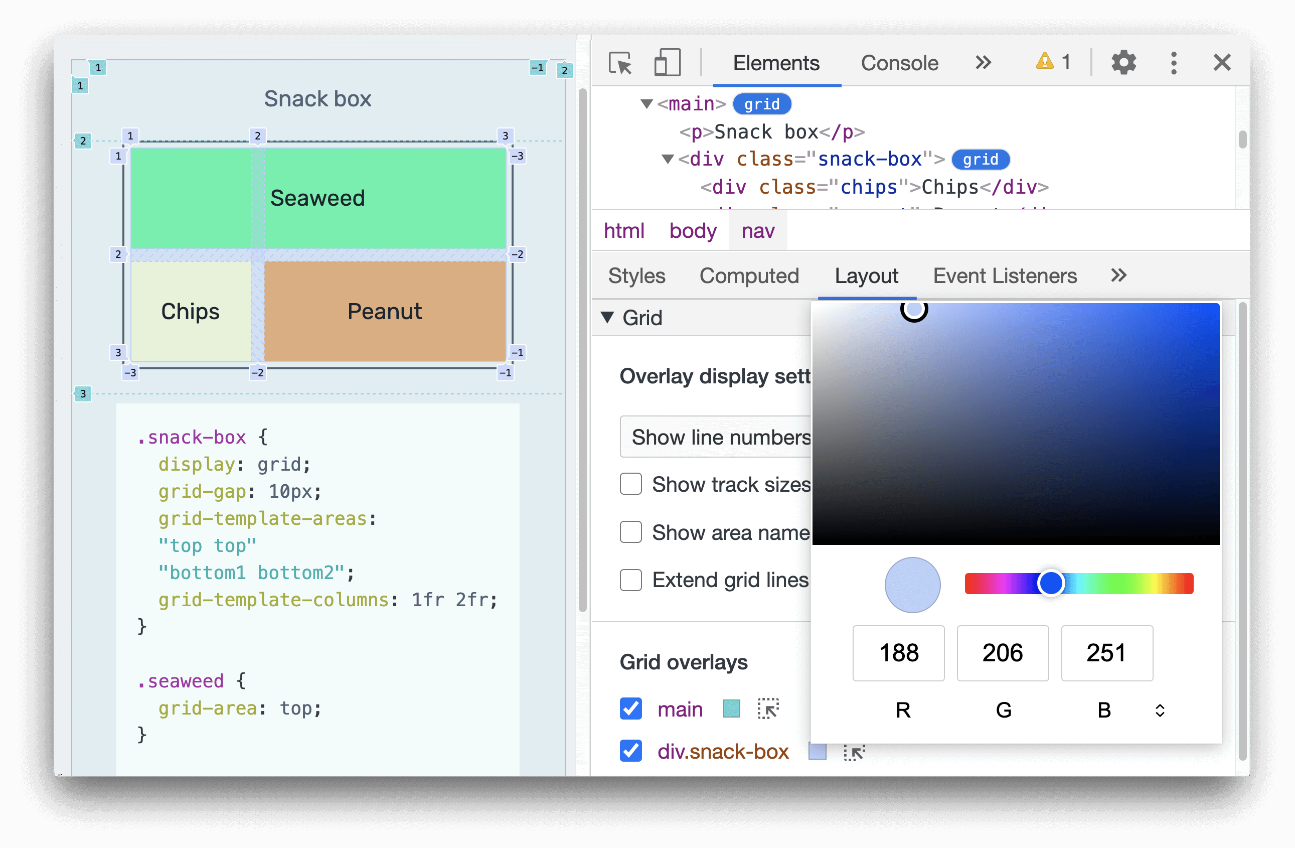Customize the grid overlay color