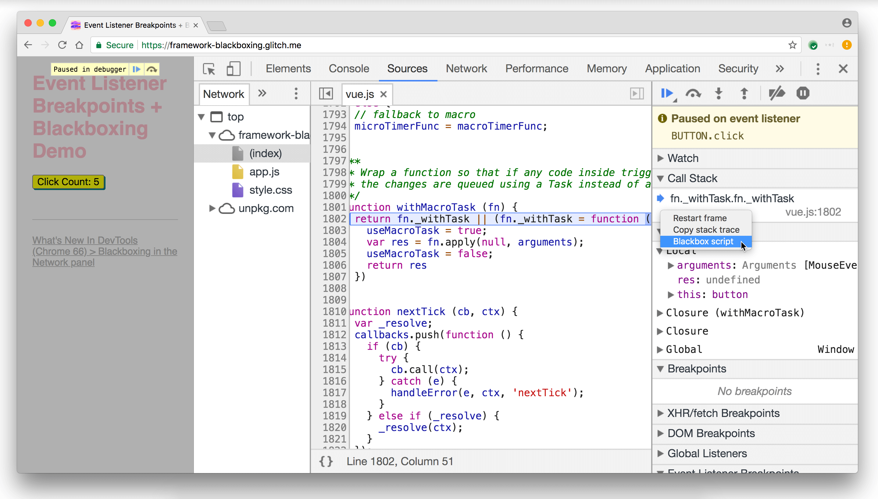 Ignoring the Vue.js script from the Call Stack pane.