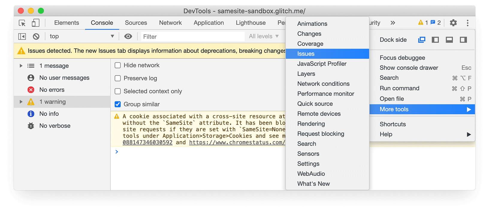 Chrome DevTools screenshot showing Issues tab in More tools menu.