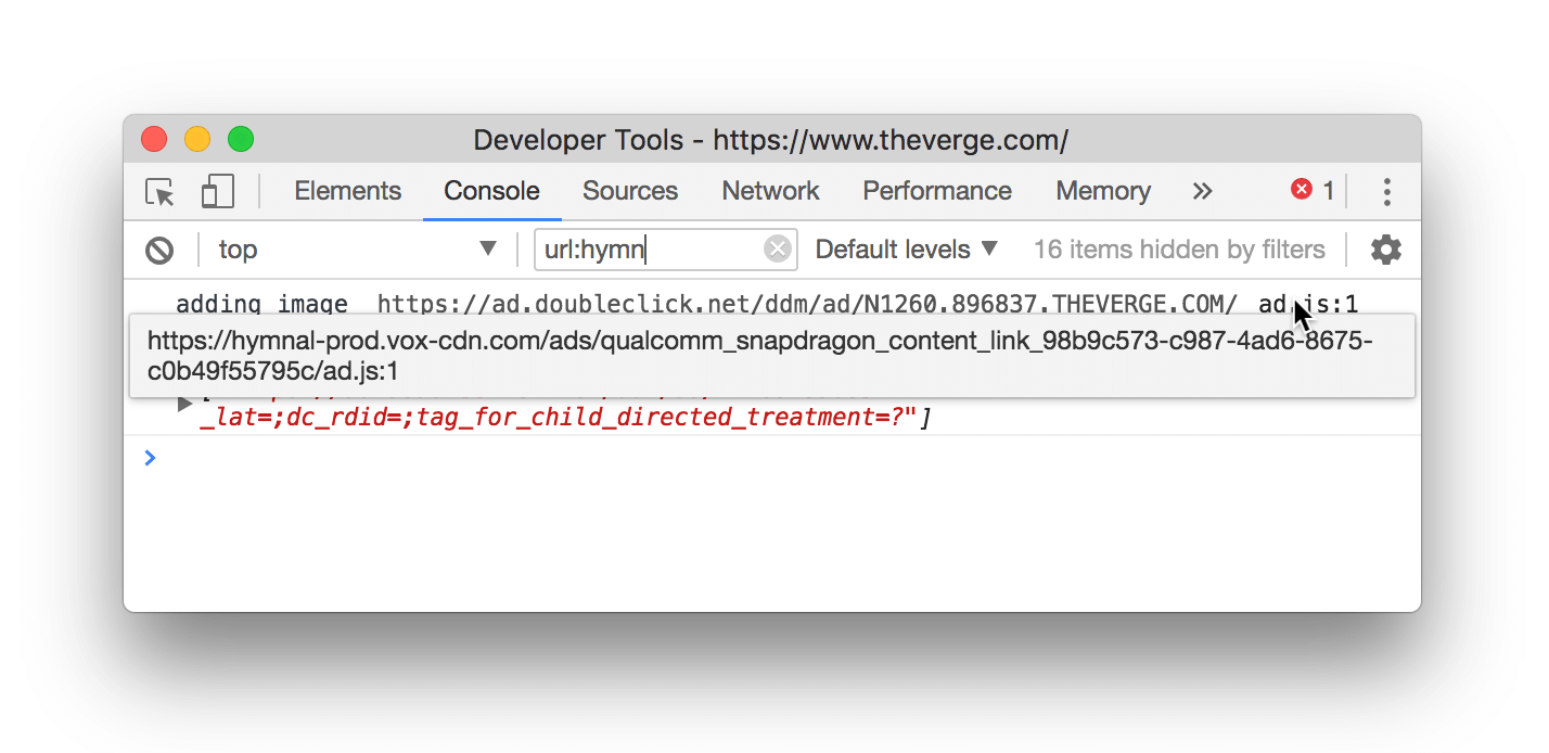 An example of URL filtering