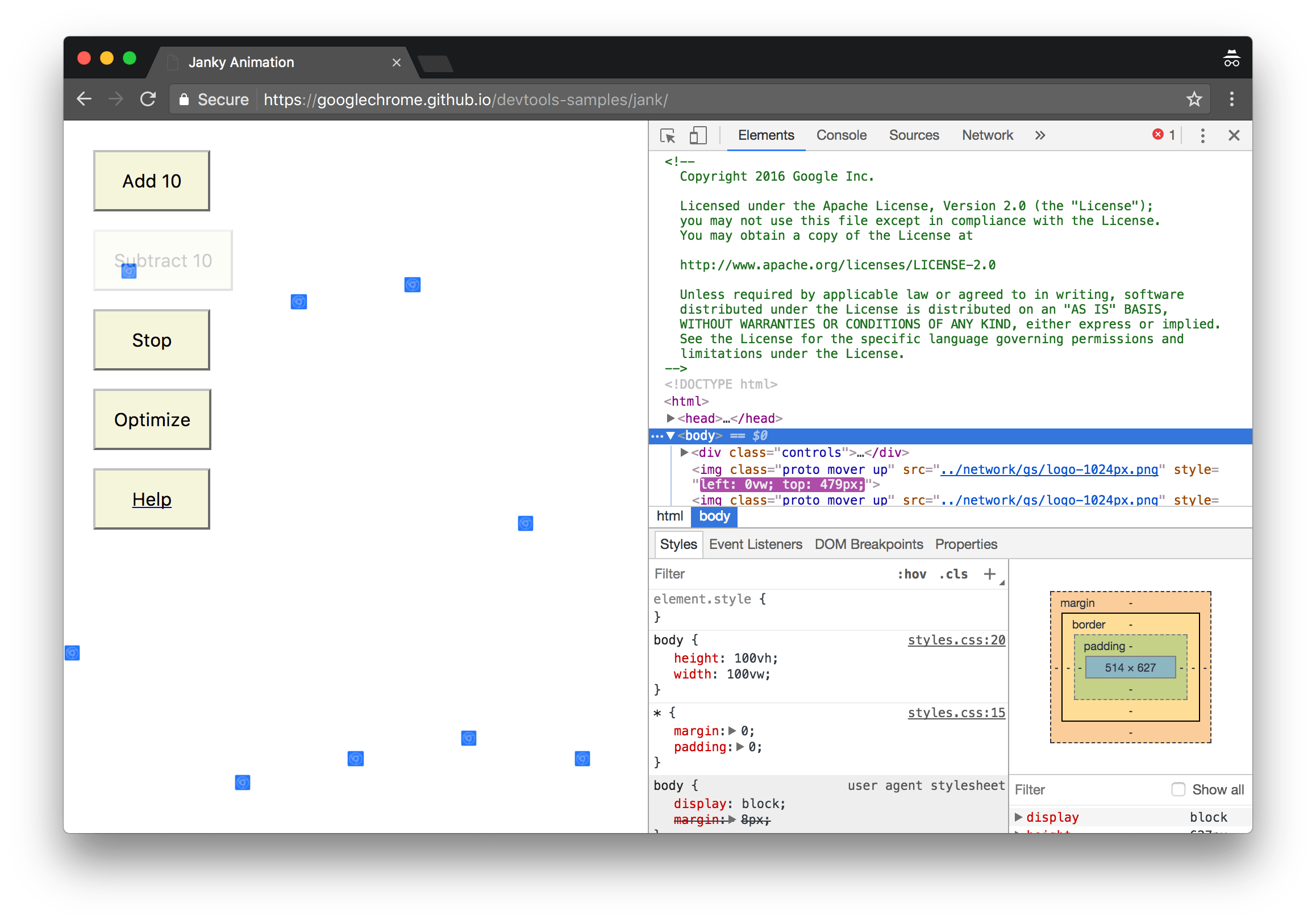 The demo on the left, and DevTools on the right