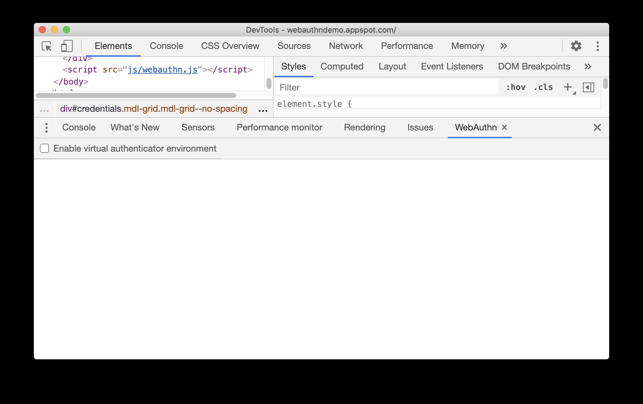 WebAuthn tab